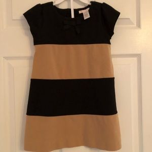 Janie and Jack Tan and Black Colorblock Dress 4 EC